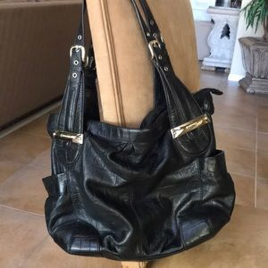 B Makowsky Black Leather Shoulder Bag